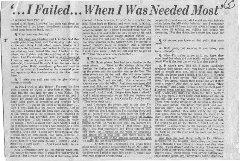 The Jeffrey MacDonald Information Site: July 23, 1970: Newsday Reporter John Cummings' exclusive interview with Jeffrey MacDonald, part 1, p. 5