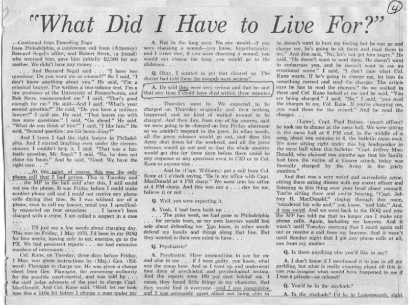 The Jeffrey MacDonald Information Site: July 24, 1970: Newsday Reporter John Cummings' exclusive interview with Jeffrey MacDonald, part 2, p. 4