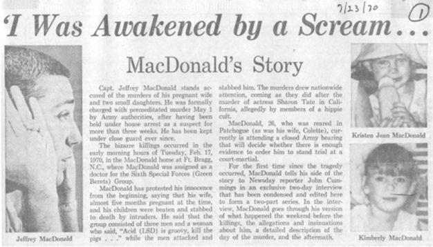The Jeffrey MacDonald Information Site: July 23, 1970: Newsday Reporter John Cummings' exclusive interview with Jeffrey MacDonald, pt1-p.1