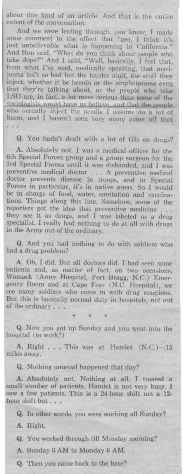 The Jeffrey MacDonald Information Site: July 23, 1970: Newsday Reporter John Cummings' exclusive interview with Jeffrey MacDonald, pt1-p. 1b