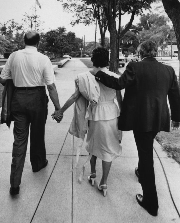Freddy and Mildred Kassab with Peter Kearns leaving the courthouse in 1979 after Jeffrewy MacDonald was found guilty